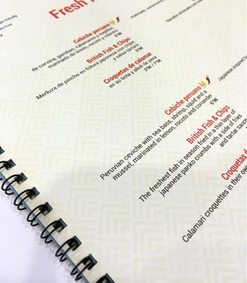 cartas de menús para bares encuadernadas en espiral